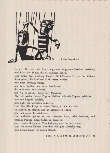 Beginn der FADENBÜHNE im Künstlerhaus mit Arminio und Picca Rothstein.