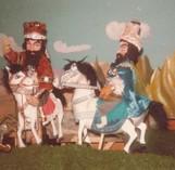 """Szene aus den """"Persischen Heldensagen"""", Held Rostam auf seinem Pferd Rachsch mit Gefährten"""