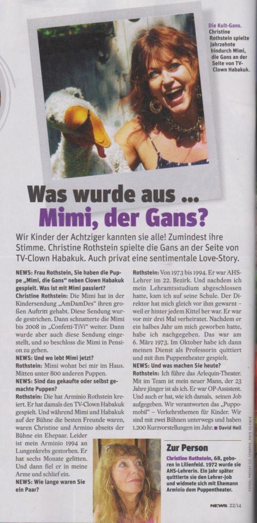Gans Mimi und Christine Rothstein in News