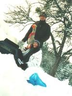 Stefan und Mimi. Dreh im Schnee