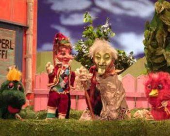 vlnr.: Buffi, Kasperl, die gute Hexe Trudi und Milli, das rosa Vogerl