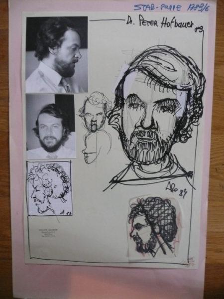 Theater Arlequin Wien: Skizze der Portraitpuppe Peter Hofbauer von Arminio Rothstein