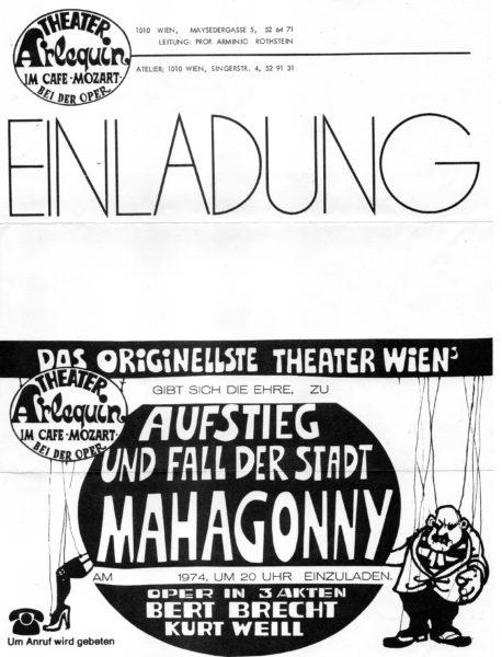 Theater Arlequin Wien: Einladung zur Premiere Aufstieg und Fall der Stadt Mahagonny