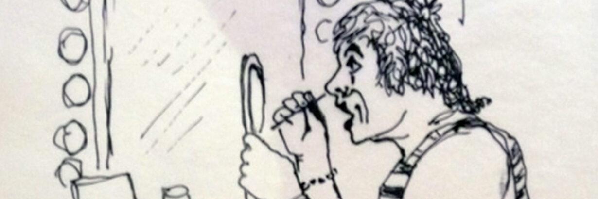 """Zeichnung """"Der Clown-Habakuk entsteht"""" von Arminio Rothstein"""