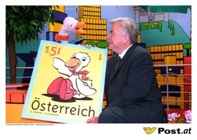 Bild zu OTS - Prasentation der Sondermarke Mimi durch den Generaldirektor der österreichischen Post AG Dr. Anton Wais