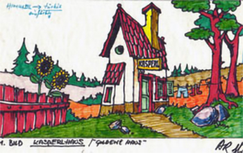 Entwurf zum Ersten Kasperl-Bühnenbild, gezeichnet von Arminio Rothstein