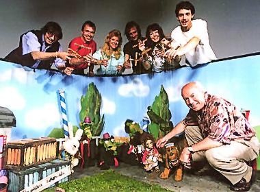 """Theater Arlequin-Team am Set beim ORF,Aufzeichnung der letzten Sendung aus der Kultserie """"Toby und Tobias"""", 1993"""
