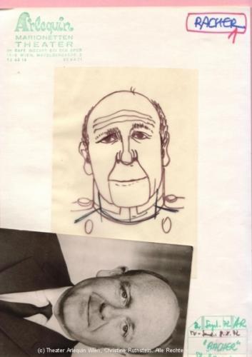 Portraitskizze zur Gerd Bacher-Puppe