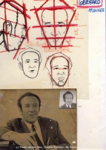 Portraitskizze zur Gerhard Bonner-Puppe